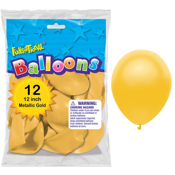 """Pioneer National Latex 55219 10"""" Gold Funsational Balloons 12-count"""