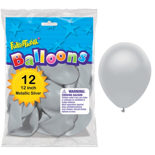 """Pioneer National Latex 55225 10"""" Silver Funsational Balloons 12-count"""