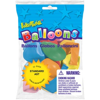 Pioneer National Latex 55228 Funsational Balloons Assorted 12-count