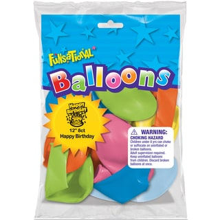 "Pioneer National Latex 83360 12"" Happy Birthday Funsational Balloons Assorted Colors 8 Ct"
