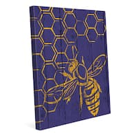 Honeycomb Bee on Purple' Canvas Wall Art
