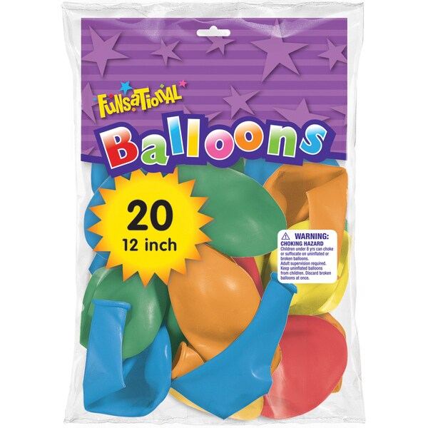"""Pioneer National Latex 93197 12"""" Funsational Balloons Assorted Colors 20-count"""