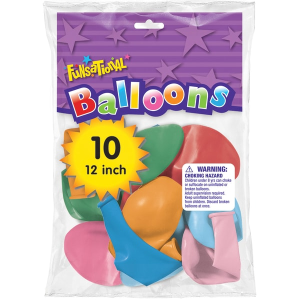 "Pioneer National Latex 93323 12"" Funsational Balloons Assorted Colors 10-count"