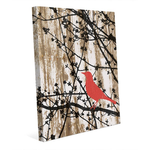 Shop Woods Silhouette - Red Bird\' Canvas Wall Art - On Sale - Free ...
