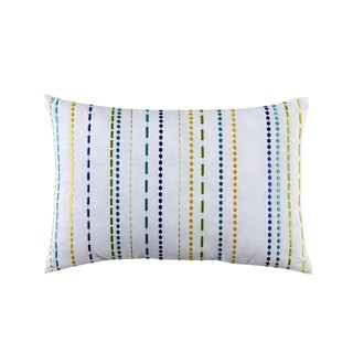 LaVida White Cotton 12-inch x 18-inch Embroidered Stripe Decorative Pillow