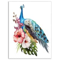 Hibiscus Flowers and Blue Peacock - Large Flower Glossy Metal Wall Art