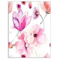 Seamless Pattern of Pink Flowers - Large Flower Glossy Metal Wall Art