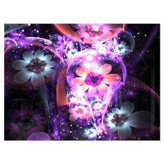 Fractal Flower Dark Purple Digital Art - Large Flower Glossy Metal Wall Art