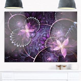 Fractal Flower Soft Purple Digital Art - Large Flower Glossy Metal Wall Art