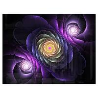 Fractal Purple Flowers Digital Art - Large Flower Glossy Metal Wall Art