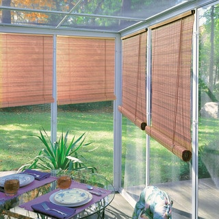 Lewis Hyman Woodgrain Indoor / Outdoor 1/4 inch Rollup Blind