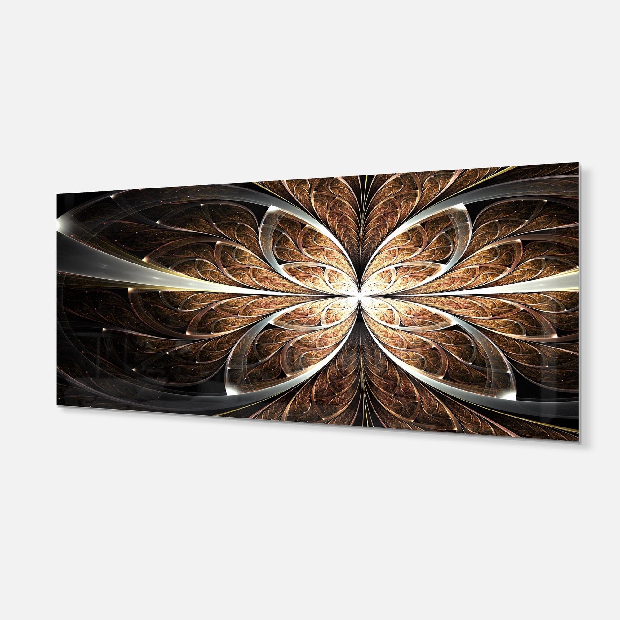 Fractal Flower Brown Black Digital Art Large Floral Glossy Metal Wall Art Overstock 12778494