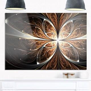 Fractal Flower Brown Black Digital Art - Large Floral Glossy Metal Wall Art