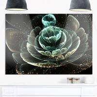 Fractal Flower Light Green Digital Art - Large Floral Glossy Metal Wall Art