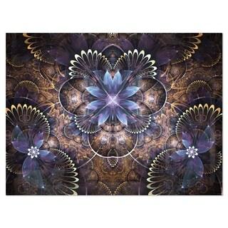 Fractal Glossy Blue Flower Digital Art - Large Floral Glossy Metal Wall Art