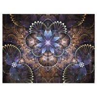 Fractal Glossy Blue Flower Digital Art - Large Floral Glossy Metal Wall Art