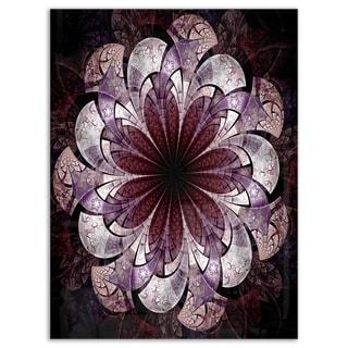 Soft Pink Digital Art Fractal Flower - Large Floral Glossy Metal Wall Art