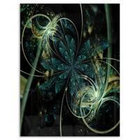 Green Yellow Digital Art Fractal Flower - Large Floral Glossy Metal Wall Art