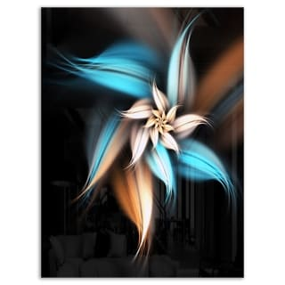Blue Brown Digital Art Fractal Flower - Large Floral Glossy Metal Wall Art