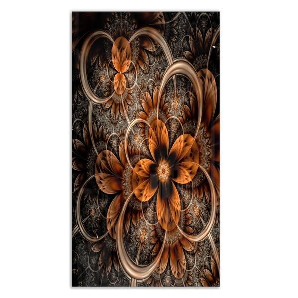 Dark Orange Digital Art Fractal Flower Large Floral Glossy Metal Wall Art On Sale Overstock 12778529