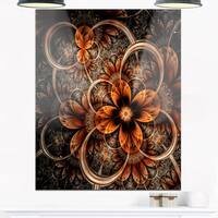 Dark Orange Digital Art Fractal Flower - Large Floral Glossy Metal Wall Art