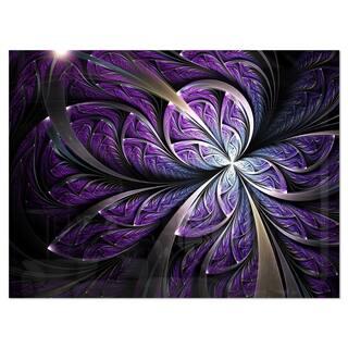 Glittering Purple Fractal Flower - Large Floral Glossy Metal Wall Art