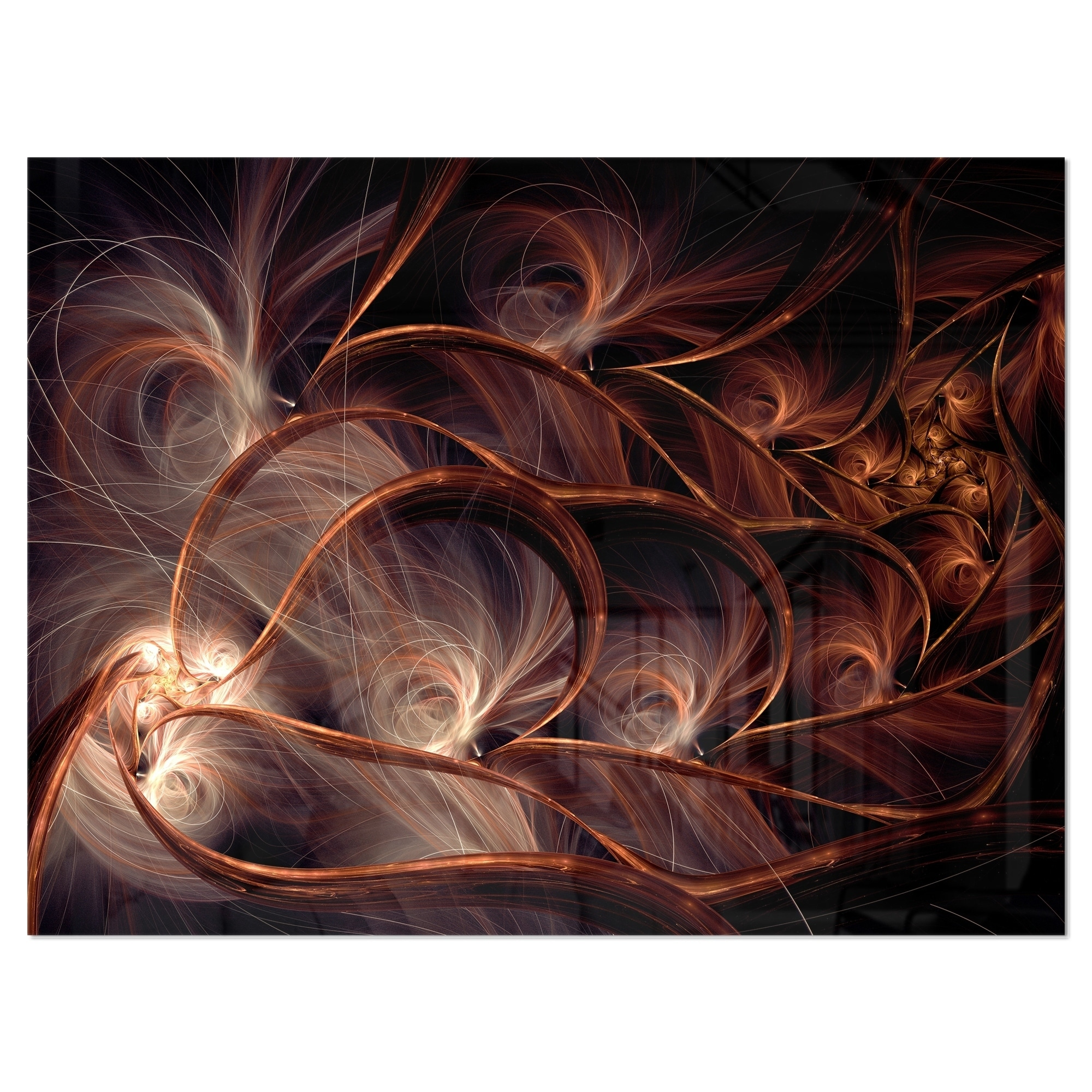 Glittering Brown Fractal Flower On Black Large Floral Glossy Metal Wall Art Overstock 12778537