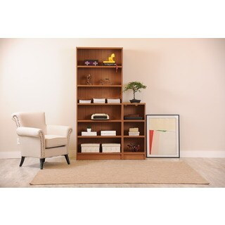 Manhattan Comfort Greenwich MDF and Metal 2-piece Bookcase With 9 Wide and Narrow Shelves