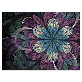Purple Blue Rounded Fractal Flower - Large Floral Glossy Metal Wall Art