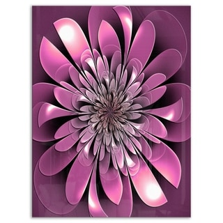 Glittering Lush Purple Fractal Flower - Large Floral Glossy Metal Wall Art