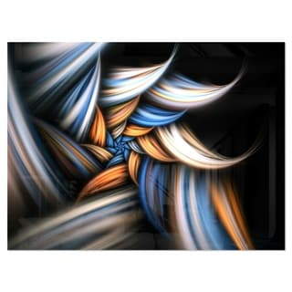 Multi Color Fractal Floral Pattern in Black - Large Floral Glossy Metal Wall Art