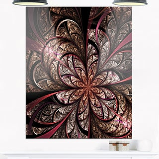 Glowing Large Fractal Flower Design - Large Floral Glossy Metal Wall Art