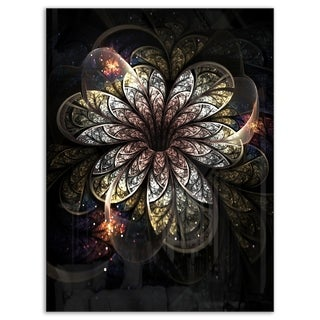 Rounded Glowing Golden Fractal Flower - Large Floral Glossy Metal Wall Art