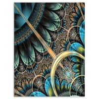 Large Blue Brown Fractal Floral Pattern - Large Floral Glossy Metal Wall Art