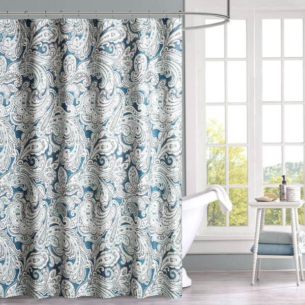 Madison Park Lira Blue Cotton Shower Curtain 2 Color Option