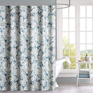 Madison Park Lira Blue Cotton Shower Curtain 2-Color Option