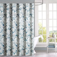 Madison Park Lira Blue Cotton Shower Curtain 2-Color Option