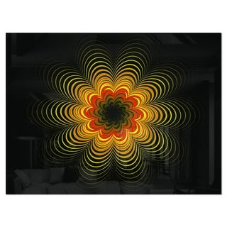 Psychedelic Yellow Fractal Flower - Large Floral Glossy Metal Wall Art