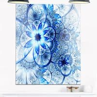 Dark Blue Flower Pattern Design - Floral Glossy Metal Wall Art
