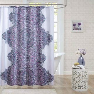 Intelligent Design Katarina Purple Microfiber Printed Shower Curtain  (Option: Purple)