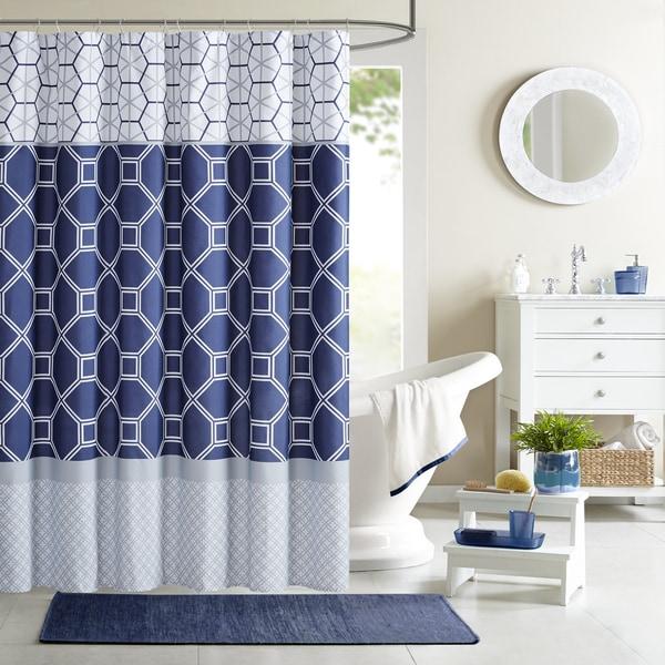 Intelligent Design Zara Navy Microfiber Printed Shower Curtain