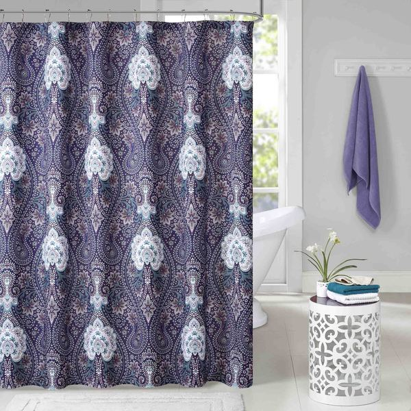 Intelligent Design Neeva Purple Microfiber Printed Shower Curtain