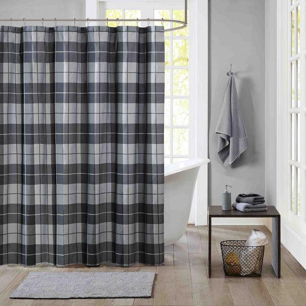 Intelligent Design Hunter Black/ Grey Microfiber Printed Shower Curtain