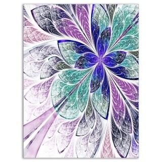Blue and Purple Fractal Flower Design - Modern Floral Glossy Metal Wall Art