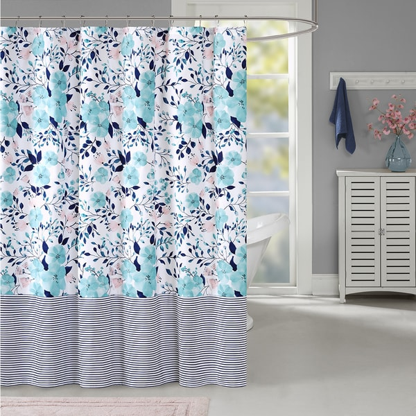Intelligent Design Tiffany Blue Microfiber Printed Pieced Shower Curtain