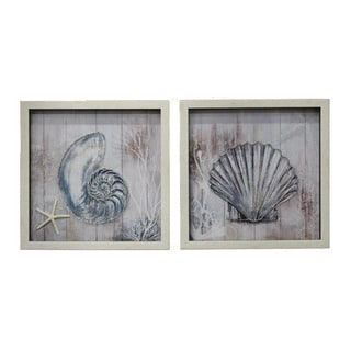 Coastal Collection 2-Piece Handcrafted Sea Shells Square Framed Wall Art
