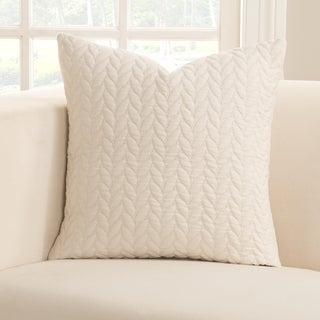 Havenside Home Carrabelle White Leaf Textured Accent Pillow