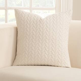 Strick & Bolton Stom White Leaf Textured Accent Pillow
