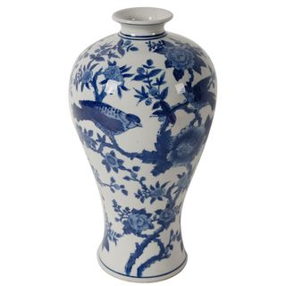 Bird-themed White/Blue Ceramic Vase