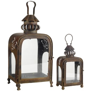 Bronze Iron and Glass Candle Lanterns (Set of 2)